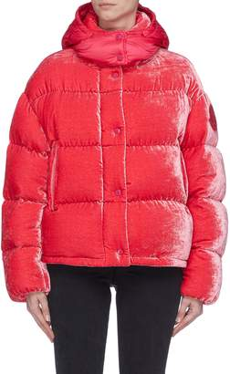 Moncler 'Caille' detachable contrast hood down puffer velvet jacket