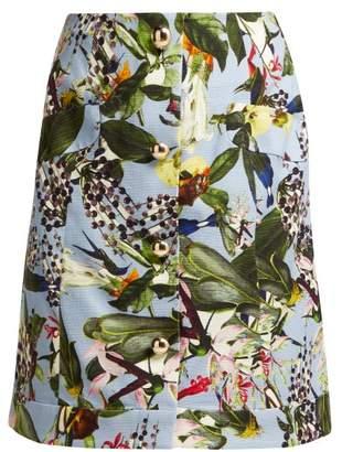 Erdem Hayden Fassett Dream Print Mini Skirt - Womens - Blue Multi
