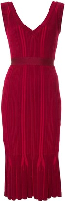 Herve Leger v-neck ribbed dress