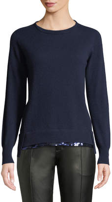 Agnona Crewneck Long-Sleeve Pullover Cashmere Sweater w/ Sequin Hem, Blue