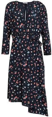 Joie Asymmetric Printed Crepe De Chine Wrap Dress