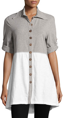 Neon Buddha Daydream Colorblock Shirt, White $69 thestylecure.com