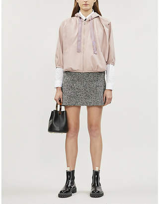 RED Valentino Drawstring-hood cropped leather bomber jacket