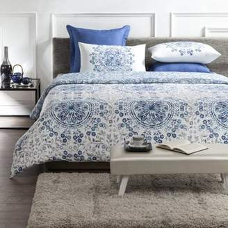 "Tiffany & Co. A1 Home Collections A1HC Reversible Print 100% Organic Cotton Wrinkle Resistant Duvet Cover and Sham Set of 2 with Internal Ties and Button Closure, 88"" x 92"", Queen, Blue/White"