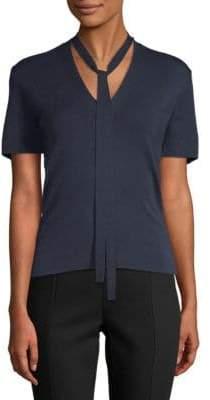 Carolina Herrera V-Neck Short-Sleeve Top