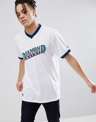 New Era Arizona Diamond Backs Mesh T-Shirt In White