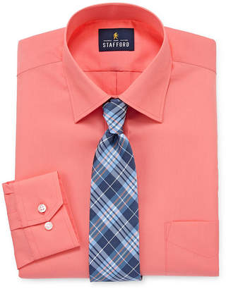 STAFFORD Stafford Travel Easy-Care Long Sleeve Shirt + Tie Set
