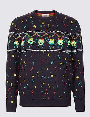 M&S Collection Brussel Sprouts Christmas Jumper with Lights