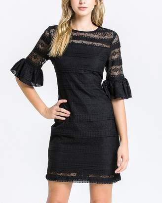Express English Factory Black Lace Sheath Dress