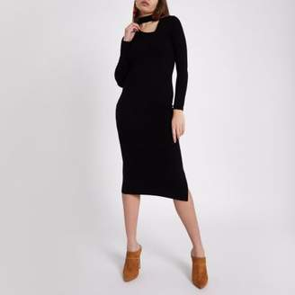 River Island Black rib long sleeve choker midi dress