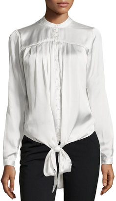 Philosophy Long-Sleeve Tie-Front Tunic, Ice Reflection $69 thestylecure.com