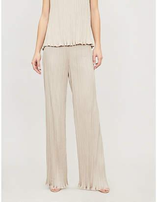 Max Mara Beige Stripe Pergola Pleated Faux-Leather Skirt