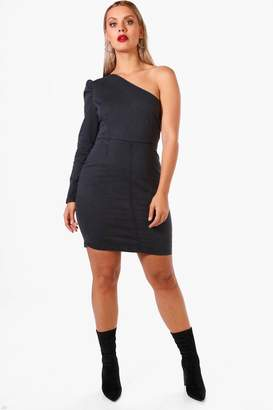 boohoo Plus One Shoulder Denim Bodycon Dress