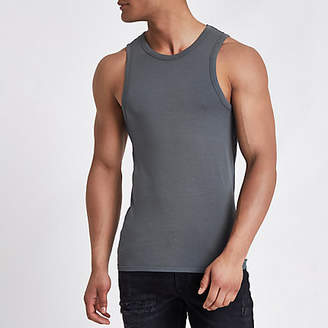 River Island Dark grey muscle fit tank top