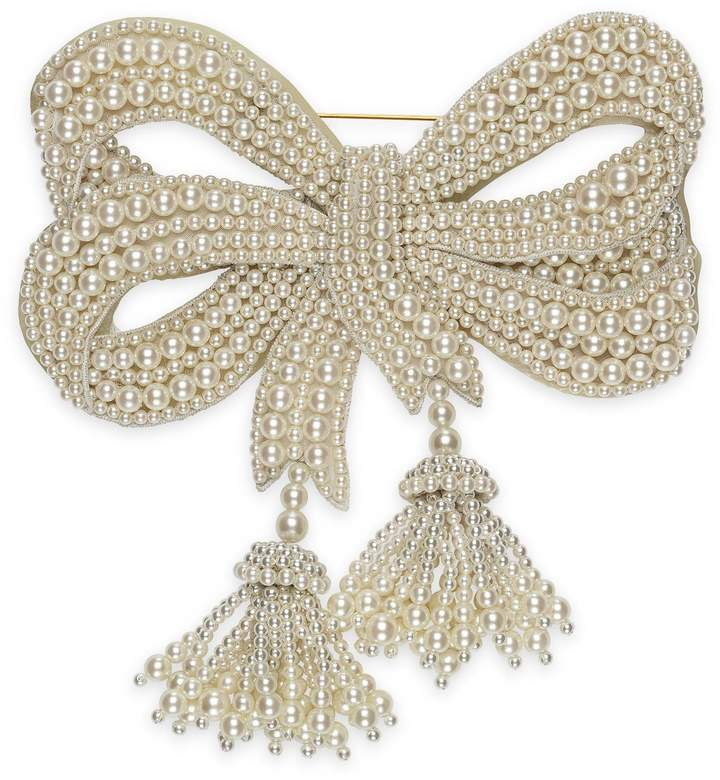 GucciResin pearl bow brooch