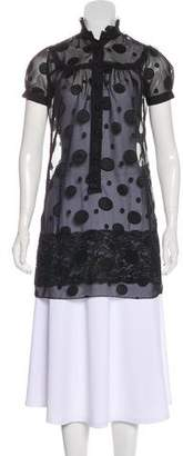Anna Sui Semi-Sheer Lace-Trimmed Tunic