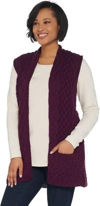 Kilronan Merino Wool Open Front Vest with Pockets