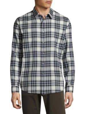 Theory Flanella Plaid Cotton Casual Button-Down Shirt