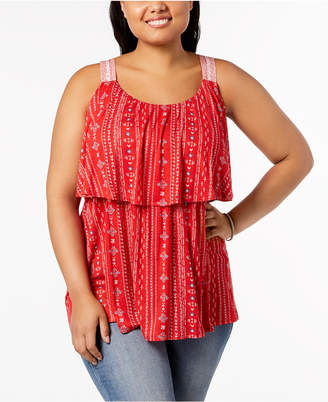 Style&Co. Plus Size Printed Flounce Sleeveless Top, Created for Macy's