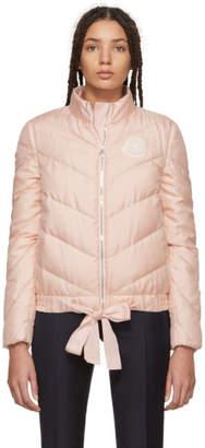 Moncler Gamme Rouge Pink Down Silk Ballet Ribbon Coat