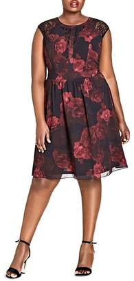 City Chic Plus Rose-Print Lace-Inset Dress