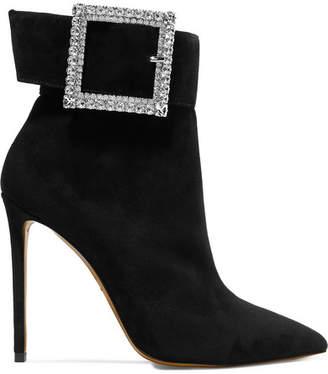 Alexandre Vauthier Yasmin Swarovski Crystal-embellished Suede Ankle Boots - Black