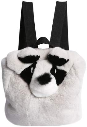 Yves Salomon Enfant Panda Shaped Fur Backpack