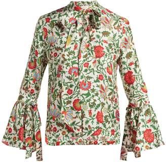 LA DOUBLE J Happy Wrist Dragonflower-print silk blouse