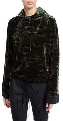 Pam & Gela Camo-Print Velour Pullover Hoodie