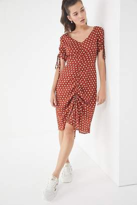 J.o.a. Polka Dot Ruched Midi Dress