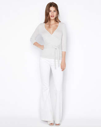 Express One Eleven Ribbed Surplice Tie Front Tee