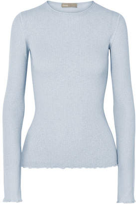 Vince Ribbed Cashmere Top - Blue