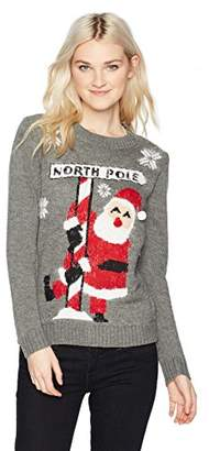 Love By Design Junior's Long Sleeve Crew Neck Christmas Pullover-Santa North Pole