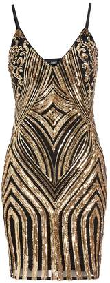 Quiz TOWIE Black and Gold Sequin Bodycon Dress