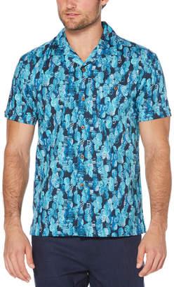 Cubavera Slim Fit Pineapple Print Camp Collar Shirt