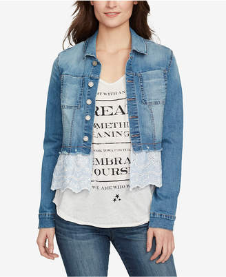 William Rast Denim Eyelet Cropped Jacket