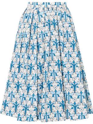 Prada Iris Printed Cotton-poplin Midi Skirt - Blue