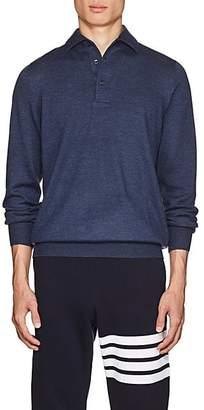 Barneys New York Men's Virgin Wool Polo Sweater - Blue