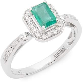 Effy Women's 14K White Gold, Diamonds and Emerald Ring