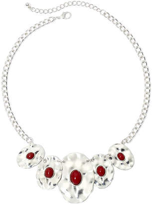 JCPenney MIXIT Mixit Silver-Tone Red Bead Oval Disc Necklace