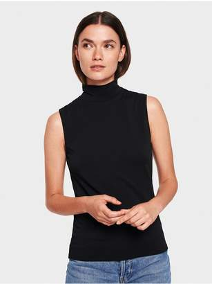 White + Warren Cotton Modal Sleeveless Mockneck