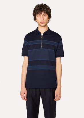 Paul Smith Men's Navy Stripe Cotton Zip Polo Shirt