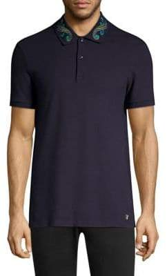 Versace Embroidered Collar Polo
