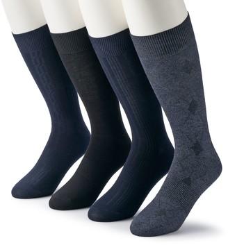 Croft & Barrow Men's & Big & Tall 4-pack Opticool Patterned Neutral Crew Socks