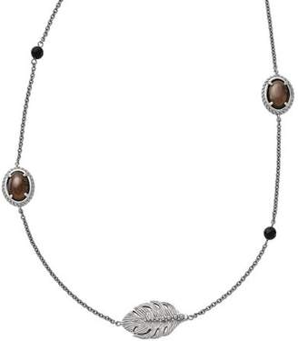 """Primal Steel Smoky Quartz/Black Onyx Stainless Steel Polished Necklace, 32"""" with 2"""" Extender"""