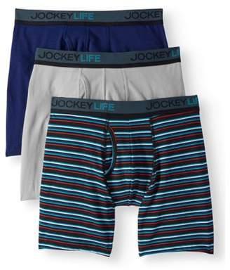 Jockey Life Men's Cotton Stretch Long-Leg Boxer Brief - 3 pack