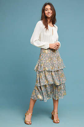 The Kooples Tiered Floral Skirt
