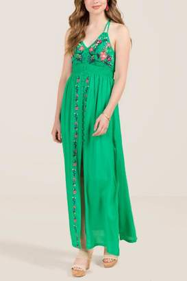 Pheobe Side Cut Front Floral Maxi Dress - Green