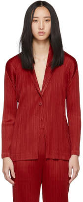 Pleats Please Issey Miyake Red Pleated Blazer