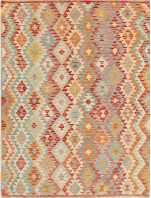 """World Menagerie One-of-a-Kind Stockwith Turkish Handwoven Flatweave 4'9"""" x 6'4"""" Wool Ivory Area Rug World Menagerie"""